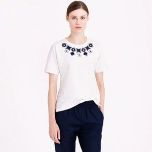 J.Crew White Structured Necklace T-Shirt